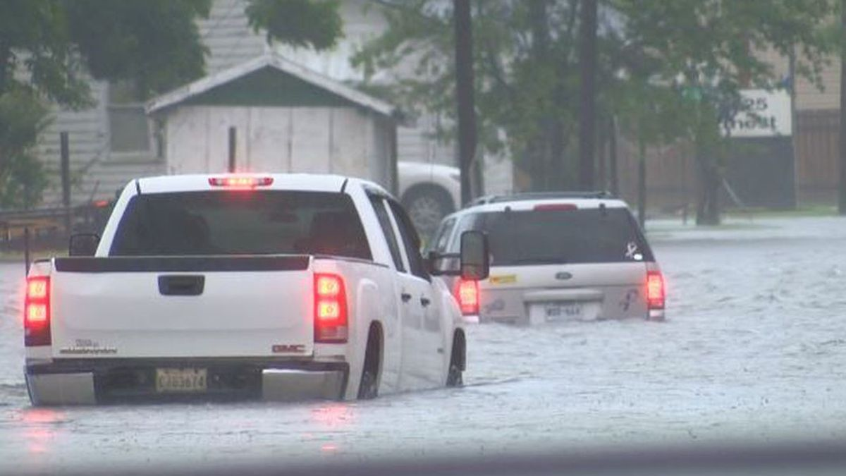 KPLC-TV photo of flooded roadways in Calcasieu Parish on Monday, May 17, 2021.