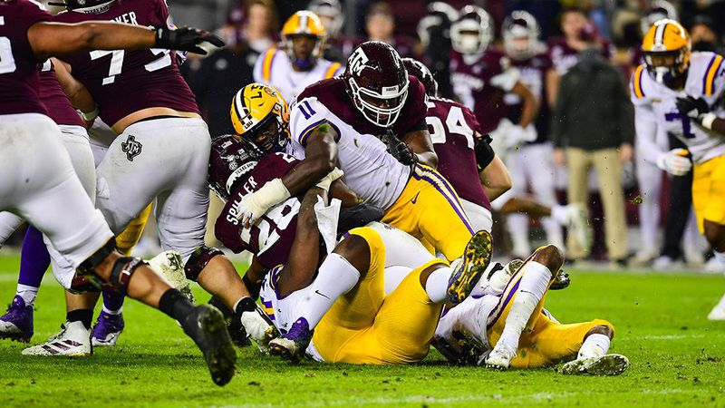 Ali Gaye of the LSU Tigers during the first half of a game against the Texas A&M Aggies at Kyle...