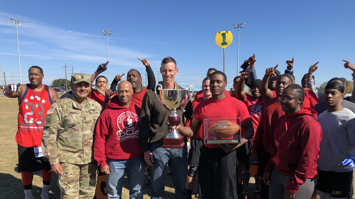 The 710th Brigade Support Battalion beat 317th Brigade Engineer Battalion 19 to 7 for the 2018...