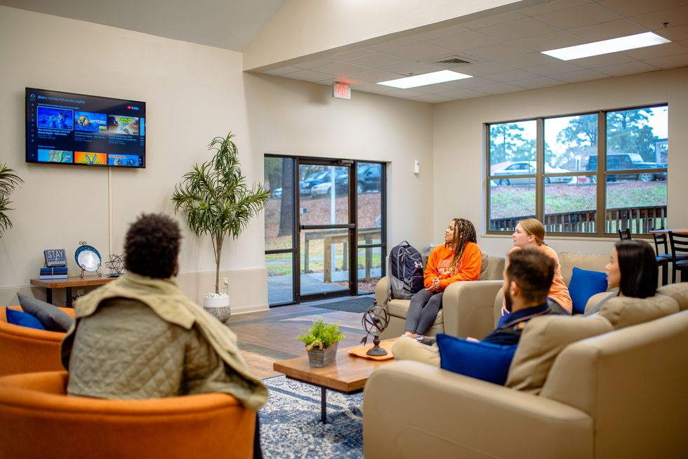 The newly renovated English Village Commons Area allows students to gather for studying,...