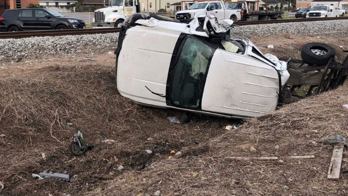 The bed of a truck was knocked into a house after a Kenner train accident. (Source: Kenner Police)