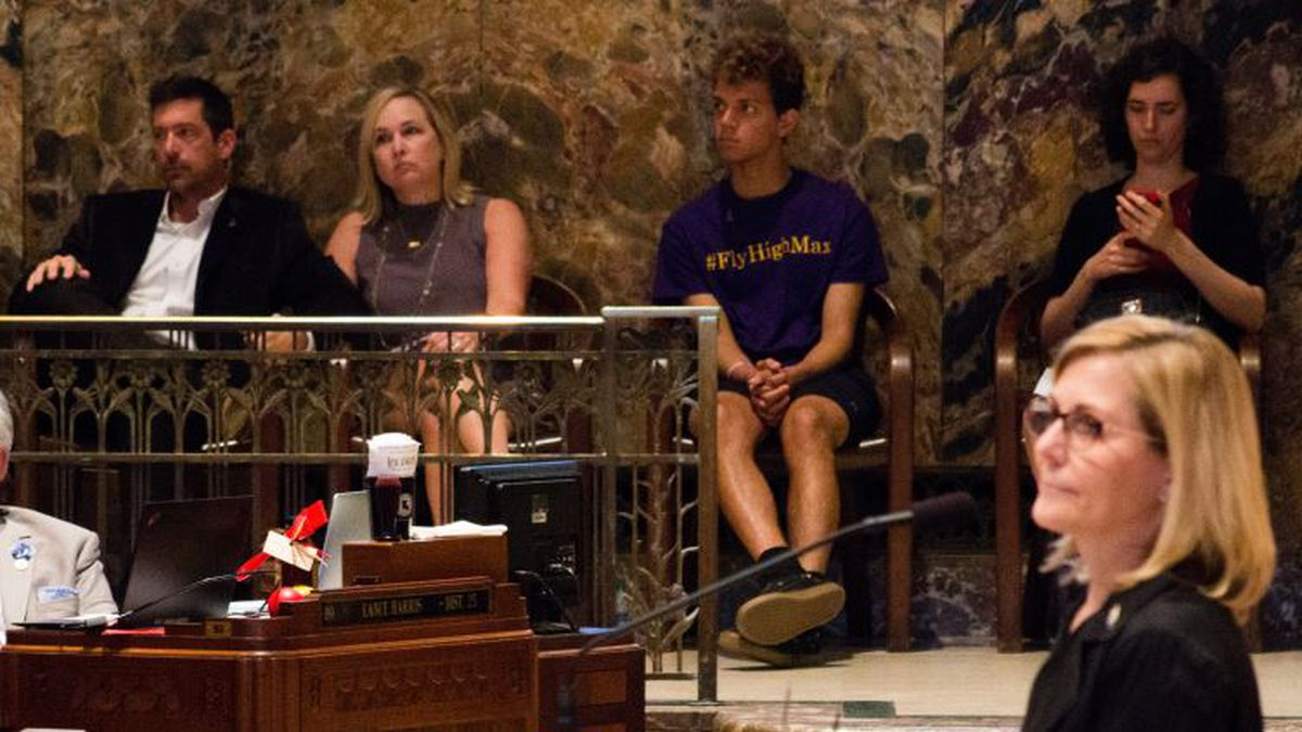 Rep. Nancy Landry, R-Lafayette, speaking last year with LSU freshman Max Gruver's parents in the background, has led the fight to tighten hazing laws. | Photo Source: Sarah Gamard / LSU Manship School News Service