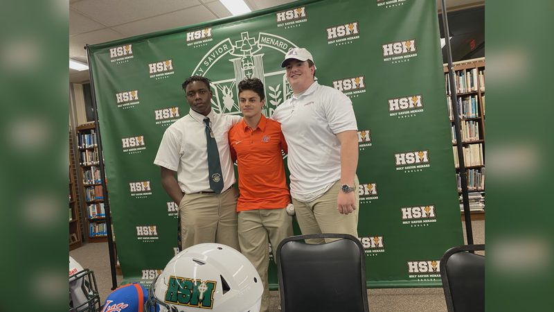 Menard's Heard, Thornton and Valenzuela sign to play college football