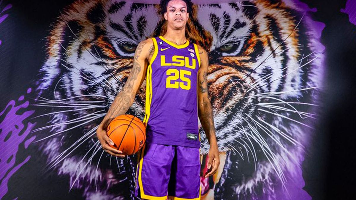 Shareef O'Neal, the son of LSU and NBA great Shaquille O'Neal, poses in the jerseys of his father's alma mater on Jan. 31, 2020. Shareef officially became an LSU Tiger on April 15, 2020. (Source: Twitter)