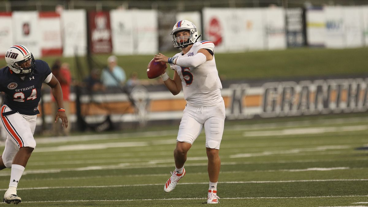 Northwestern State quarterback Shelton Eppler set program single-game passing records with 43 completions and 62 attempts, but UT Martin surged in the second half in a 42-20 Demons loss. CREDIT: Steve Mantilla/UTM University Relations