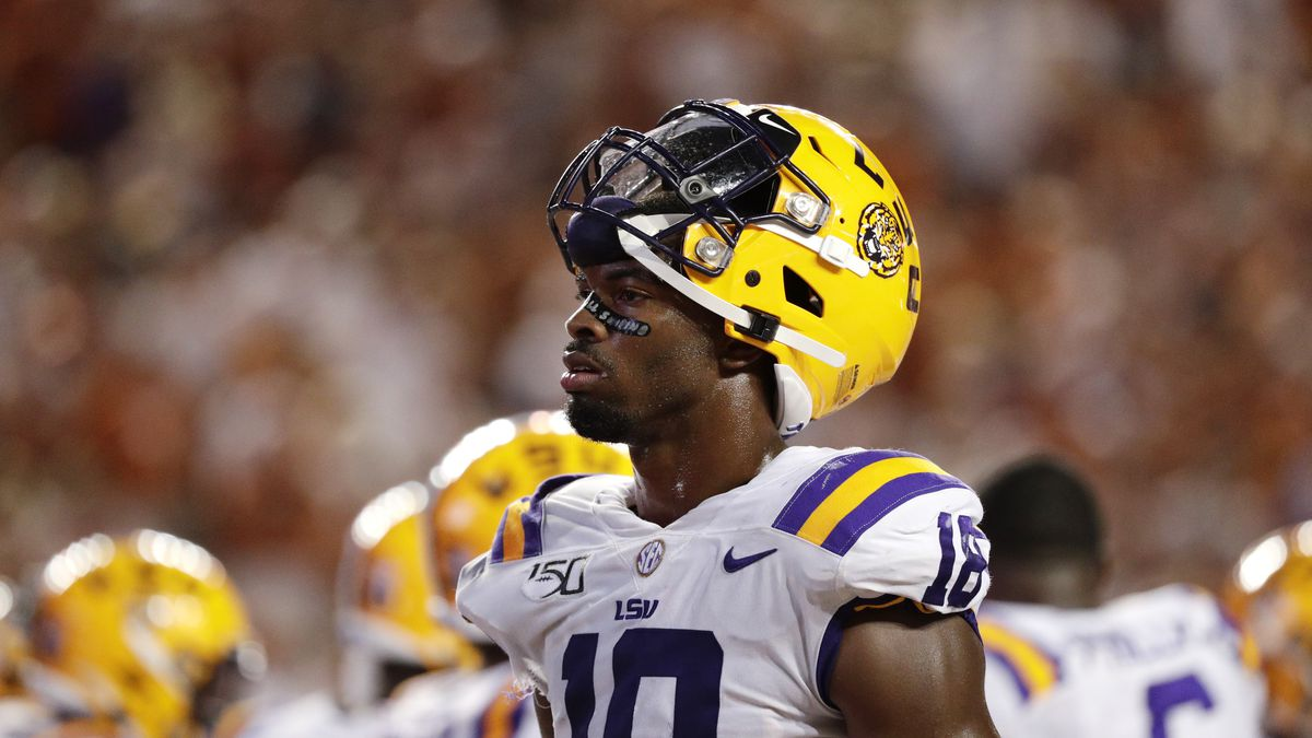 LSU linebacker K'Lavon Chaisson walks on the field during the second half of an NCAA college football game against Texas, Saturday, Sept. 7, 2019, in Austin, Texas. (AP Photo/Eric Gay)