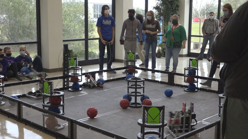 Students participate in the 2020 VEX Robotics Competition Games.
