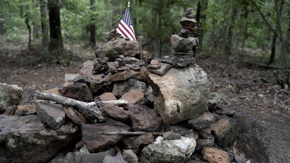 "A pile of rocks at the ""peak"" of Driskill Mountain in Bienville Parish, Louisiana."