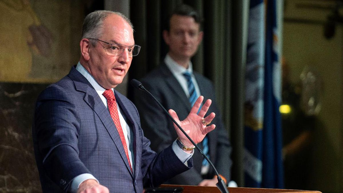 FILE: Gov. John Bel Edwards speaks Monday, May 11, 2020, at his media briefing on the state's...