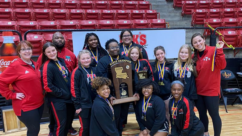 The Tioga Indians girls powerlifting team competed in the LHSAA State powerlifting competition...