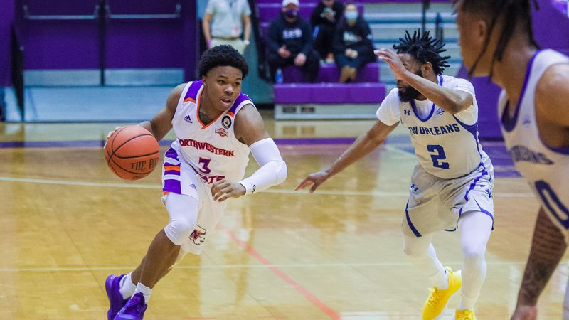 Brian White (left) scored all eight of his points in the second half of Northwestern State's...