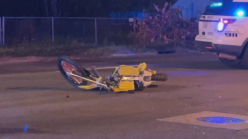 The crash sent the motorist driving the dirt bike to the hospital after the collision. The...