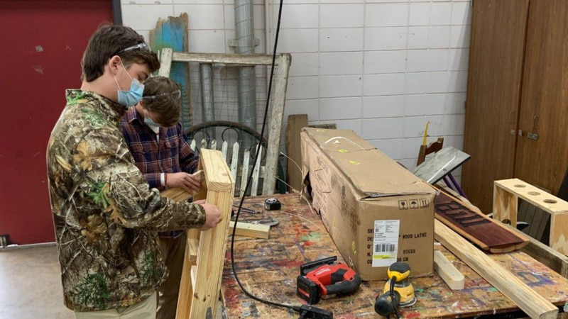 Carpentry students complete woodworking projects at Tioga High School.
