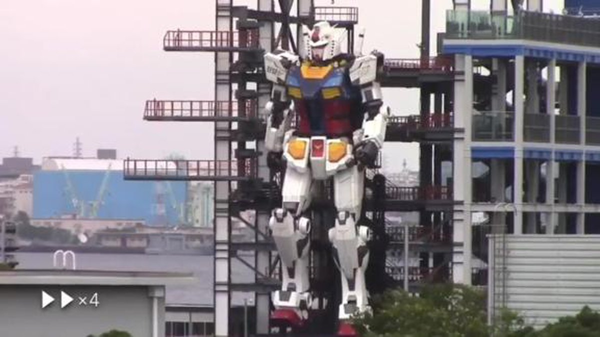 A giant robot resembling the 1970s anime figure Gundam has been tested in Yokohama, Japan. The...