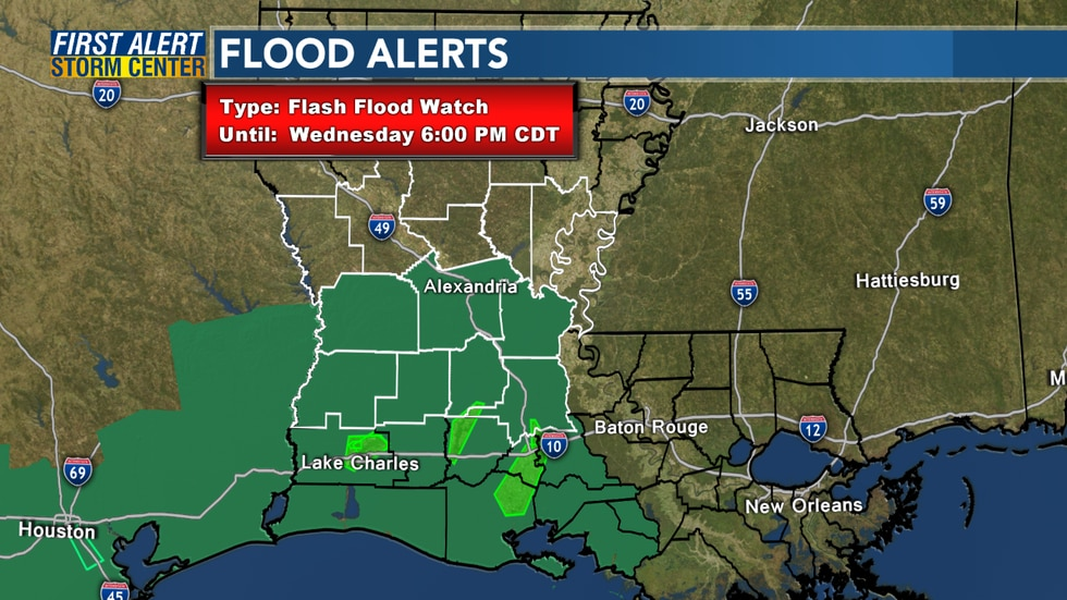 A Flash Flood Watch has been issued through Wednesday evening.