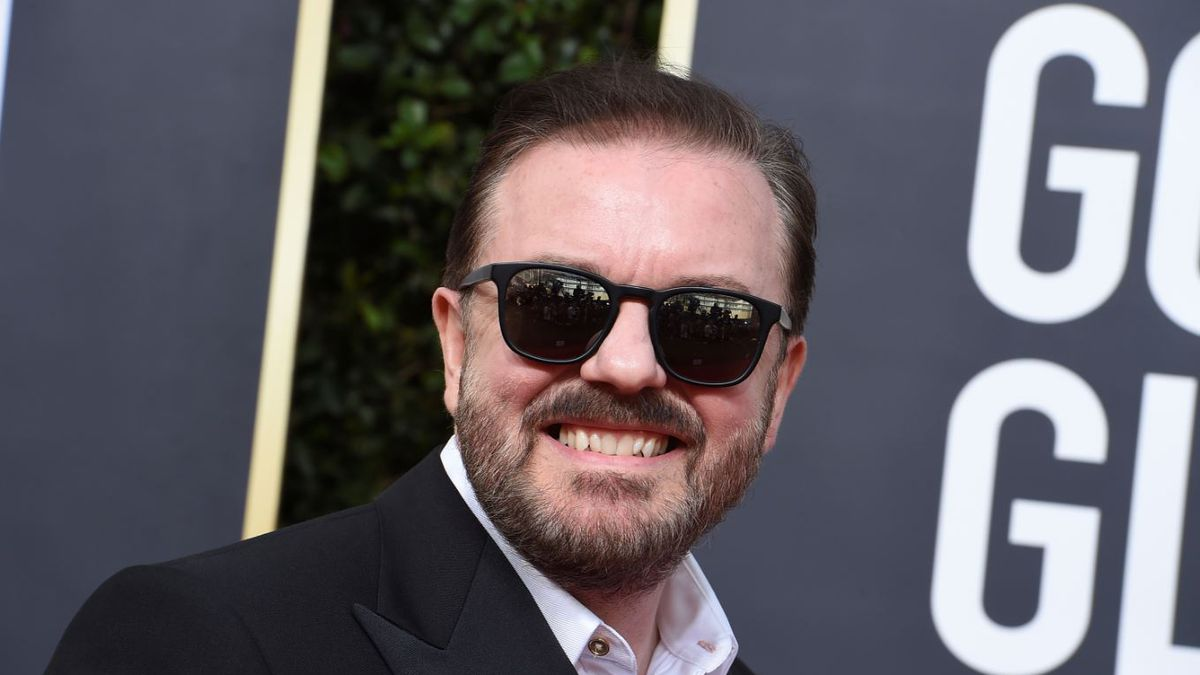 Ricky Gervais arrives at the 77th annual Golden Globe Awards at the Beverly Hilton Hotel on Sunday, Jan. 5, 2020, in Beverly Hills, Calif.   Photo by Jordan Strauss / Invision / AP