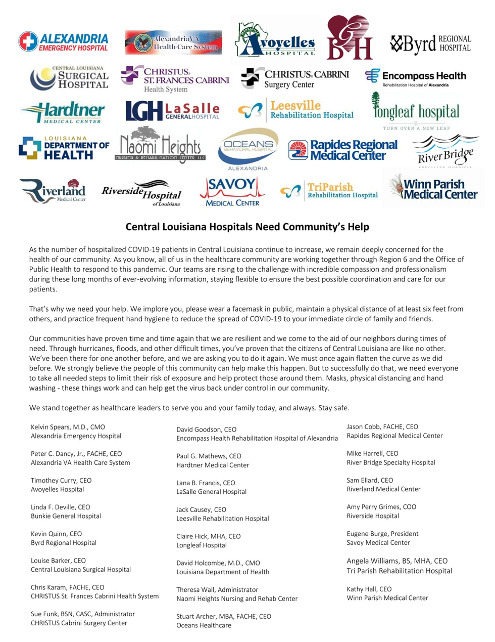 This week local hospitals published a letter asking for the public's assistance in combatting COVID-19 in Cenla.