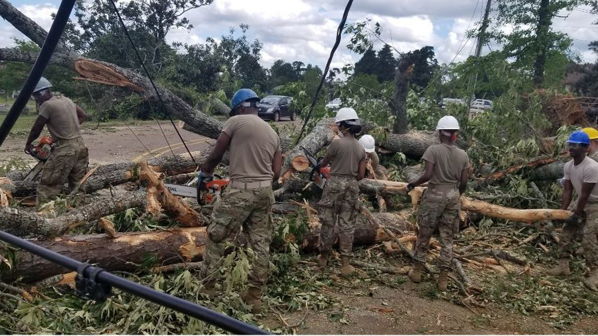 Louisiana National Guardsmen with the 527th Engineer Battalion, headquartered in Ruston,...