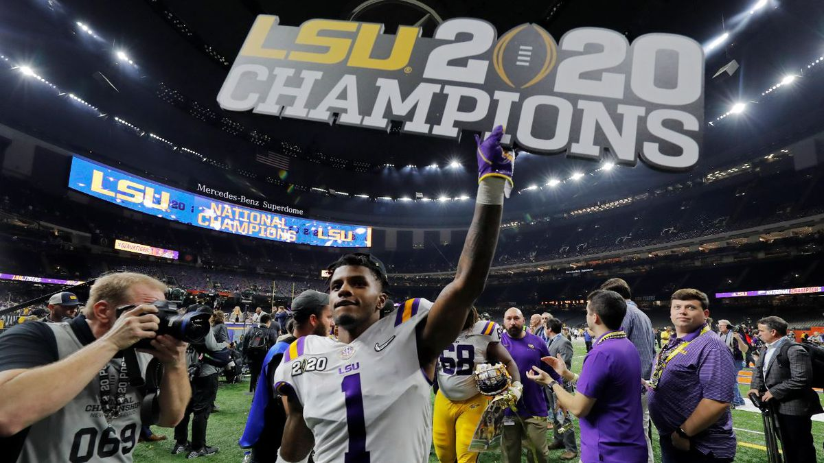 LSU cornerback Kristian Fulton leaves the field after the NCAA College Football Playoff national championship game against Clemson, Monday, Jan. 13, 2020, in New Orleans. LSU won 42-25. | Source: AP Photo / Gerald Herbert