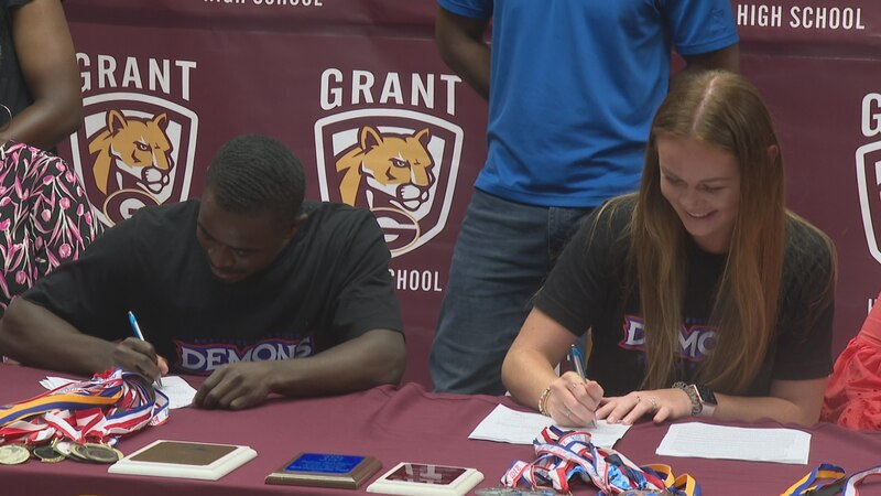 Grant High School's Galen Loyd and Abby McCain signed track scholarships with Northwestern State.