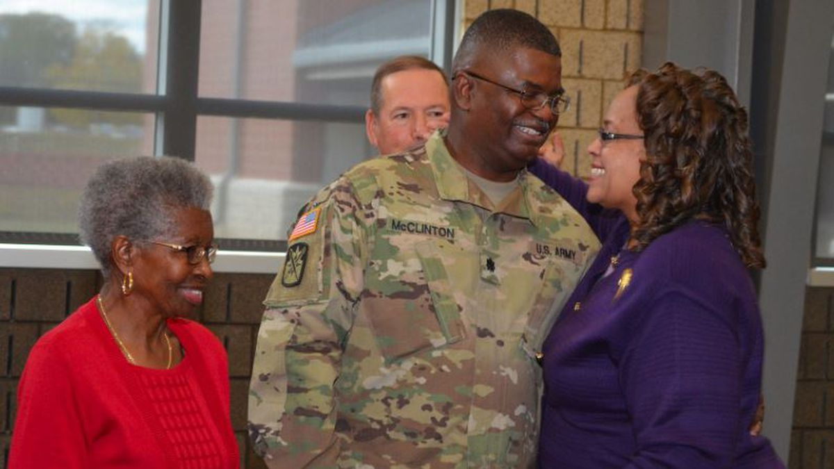 Lt. Col. Barrett McClinton is pinned by his wife, Cynthia, during his promotion ceremony at the Armed Forces Reserve Center at Camp Minden in Minden, Louisiana, Nov. 17, 2018. McClinton currently serves as the Louisiana National Guard's Detachment 1, Joint Force Headquarters logistics and operations plans officer. (Provided by family photographer)