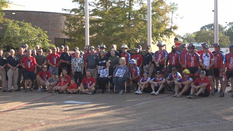The Gulf Coast Brotherhood Ride posing for a picture after finishing its 525-mile ride at the...