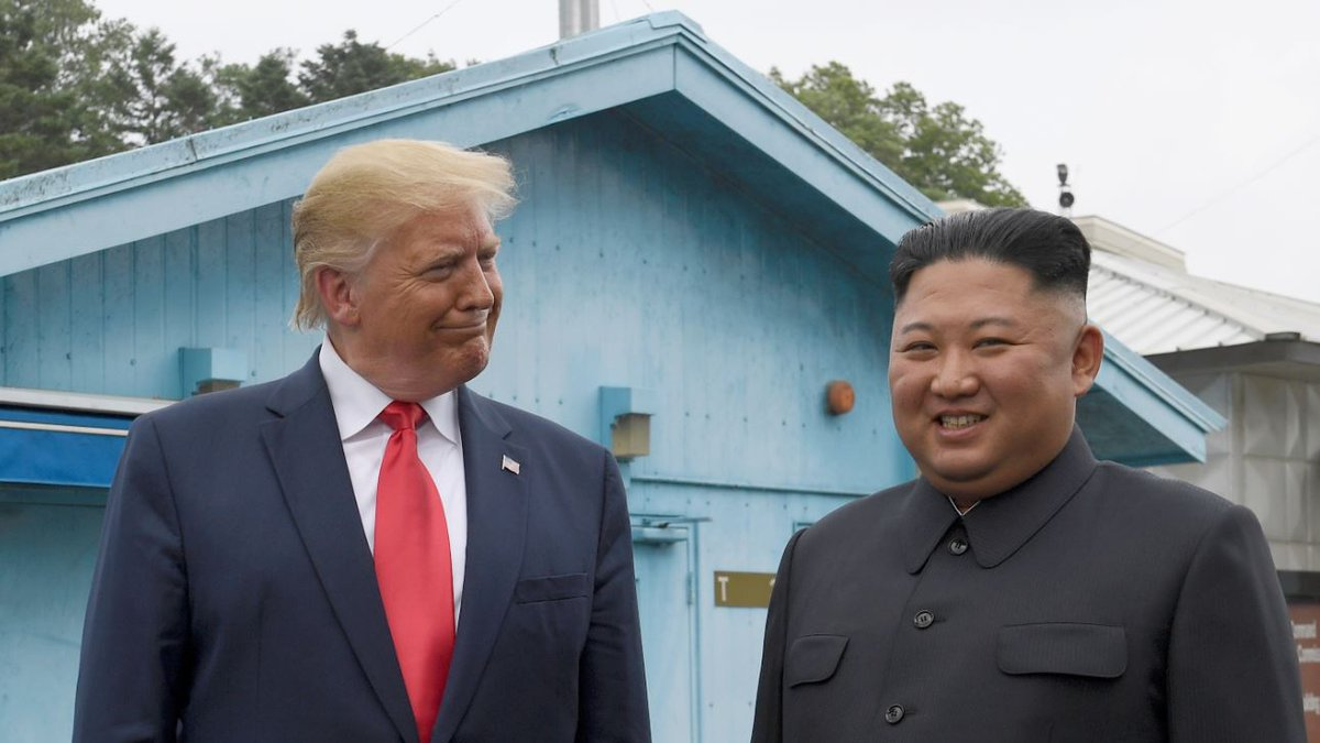 President Donald Trump meets with North Korean leader Kim Jong Un at the border village of...
