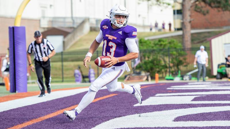 Quarterback Zachary Clement scores his fifth rushing touchdown of the season Saturday.