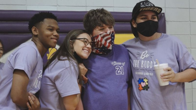 "Alexandria Senior High School's 'Best Buddies"" club put on a ""field day"" event in the gym for..."