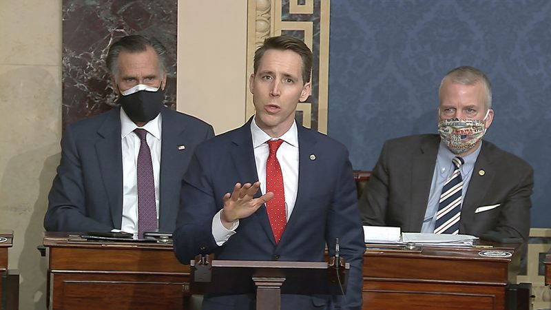 FILE - In this Jan. 6, 2021 file image from video, Sen. Josh Hawley, R-Mo., speaks at the U.S....