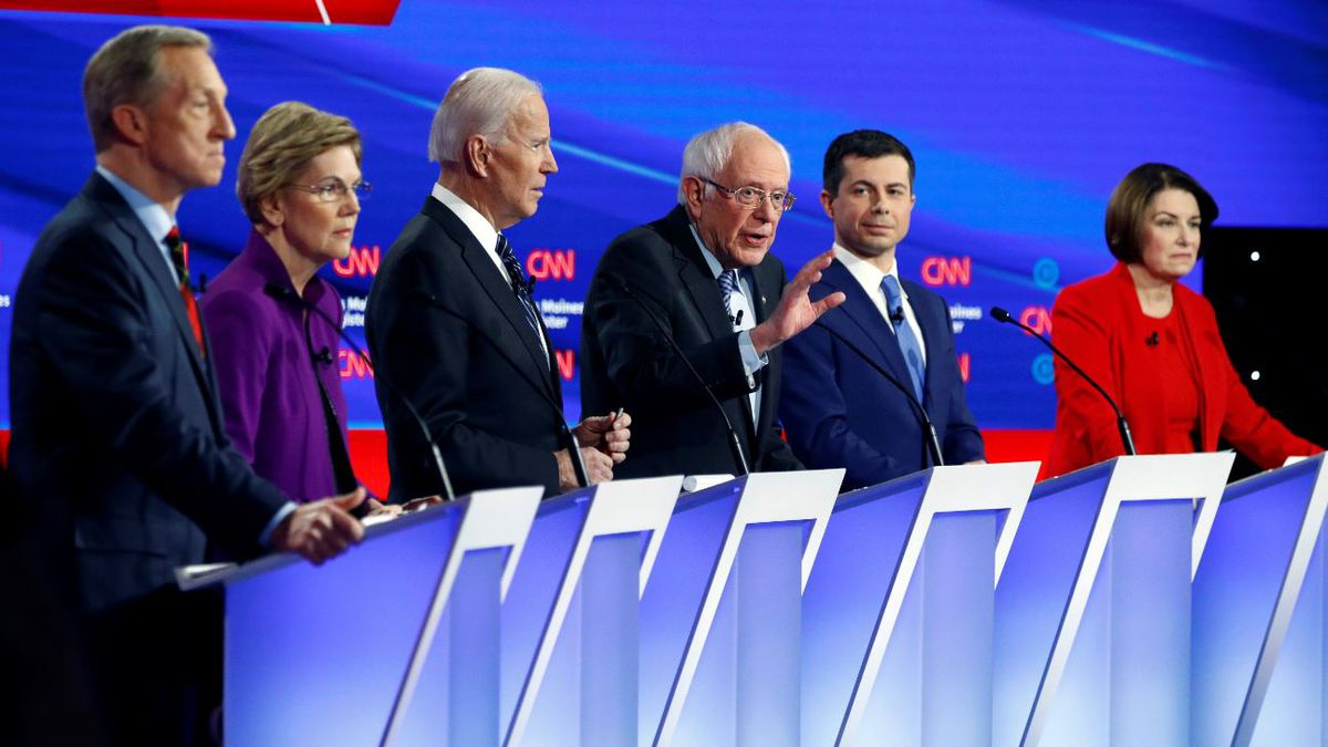 Democratic presidential candidate Sen. Bernie Sanders, I-Vt.,, center, speaks as fellow candidates businessman Tom Steyer, from left, Sen. Elizabeth Warren, D-Mass., former Vice President Joe Biden, former South Bend Mayor Pete Buttigieg and Sen. Amy Klobuchar, D-Minn. listen, Tuesday, Jan. 14, 2020, during a Democratic presidential primary debate hosted by CNN and the Des Moines Register in Des Moines, Iowa. | Source: AP Photo / Patrick Semansky