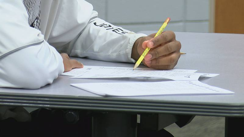 A student taking an ACT test.