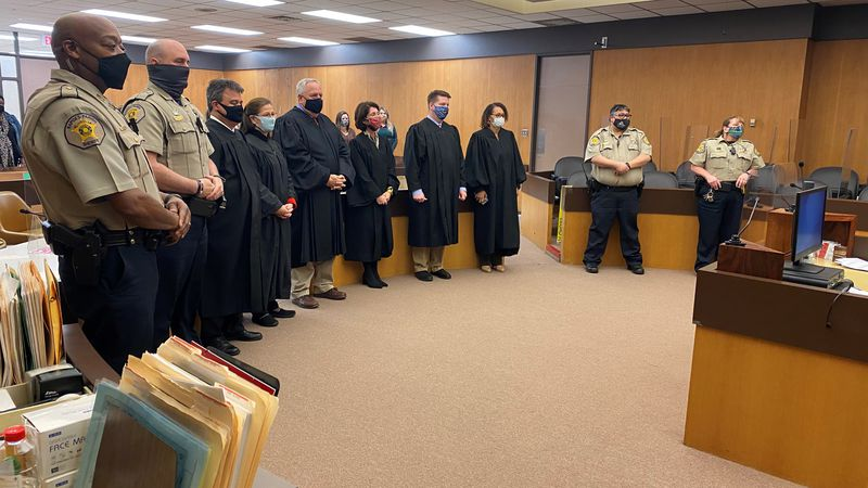 Judge George Metoyer Jr. sworn in the judges for the 9th Judicial District Court at the Rapides...