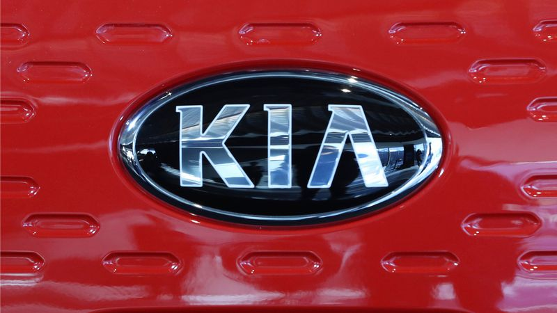 FILE- This photo shows the logo of Kia Motors during an unveiling ceremony on Dec. 13, 2017, in...