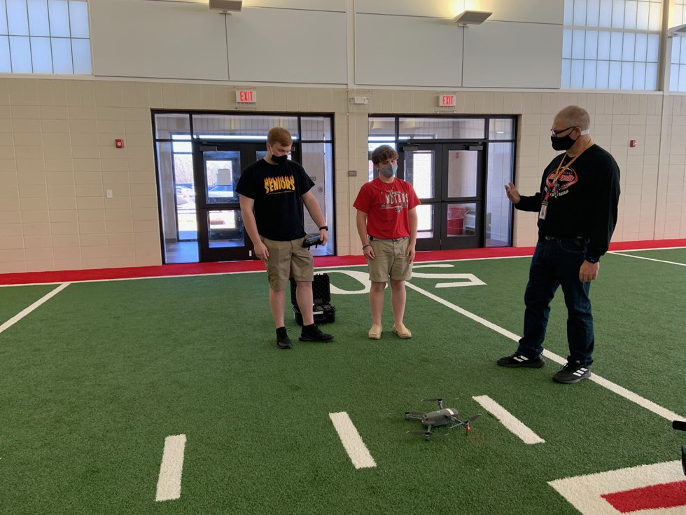 Students fly drones in preparation for the FAA part 107 remote pilot's license test.