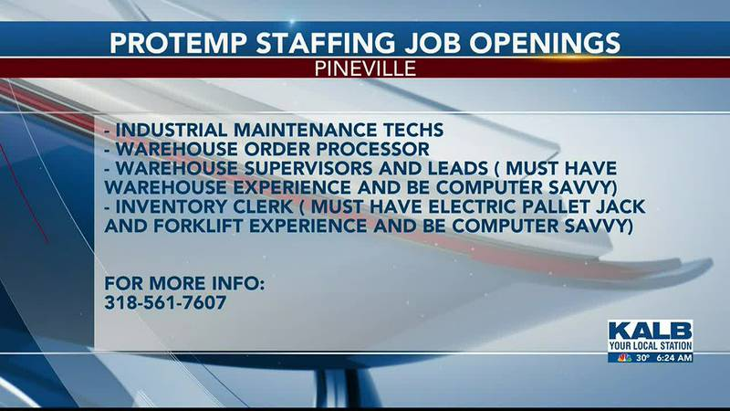 Protemp Staffing Job Openings 1/18/21