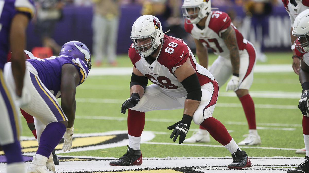 Arizona Cardinals guard Jeremy Vujnovich (68) gets set on the line during the second half of an NFL preseason football game against the Minnesota Vikings, Saturday, Aug. 24, 2019, in Minneapolis. (AP Photo/Jim Mone)