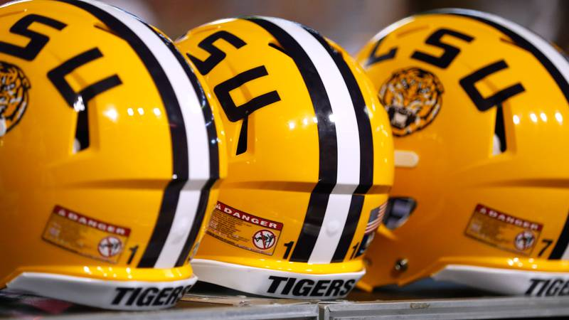 The LSU logo is seen on a helmet during the first half of an NCAA college football game in...