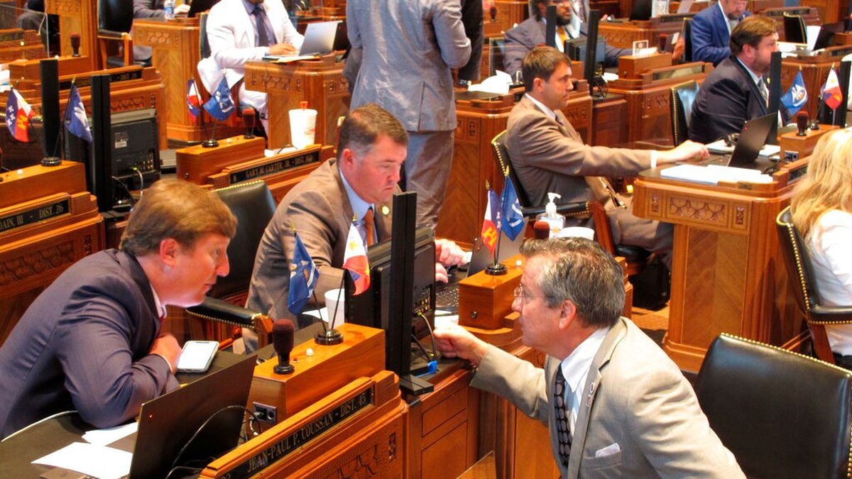 """Reps. Jean-Paul Coussan, R-Lafayette, left; Stephen Dwight, R-Lake Charles, center; and Jerome """"Zee"""" Zeringue, R-Houma."""