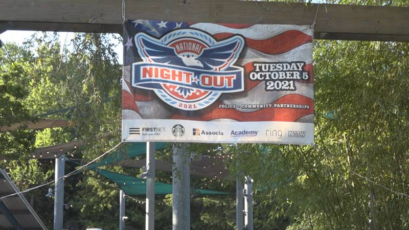 A banner from the Alexandria Police Department's National Night Out event, which was held at...