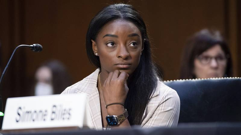 United States Olympic gymnast Simone Biles testifies during a Senate Judiciary hearing about...