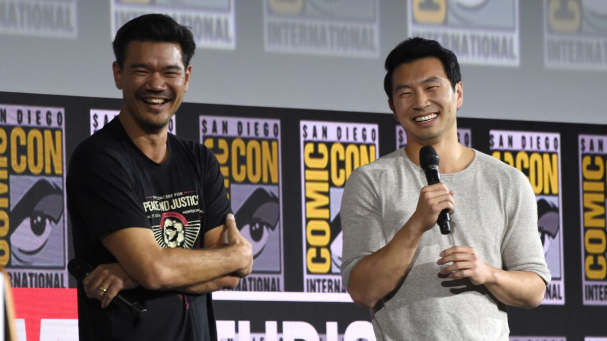 """Destin Daniel Cretton, left, and Simu Liu speaks during the """"Shang-Chi and The Legend of the..."""