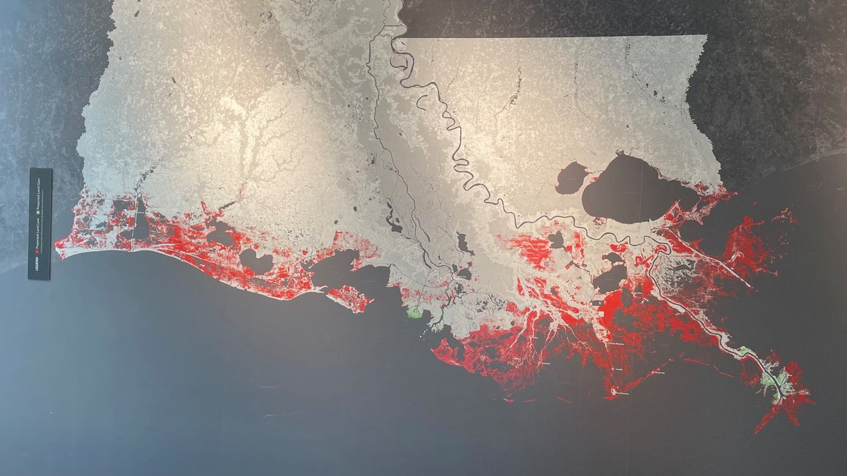 If Louisiana did nothing to try to restore the coast, it would lose the areas in red on this...