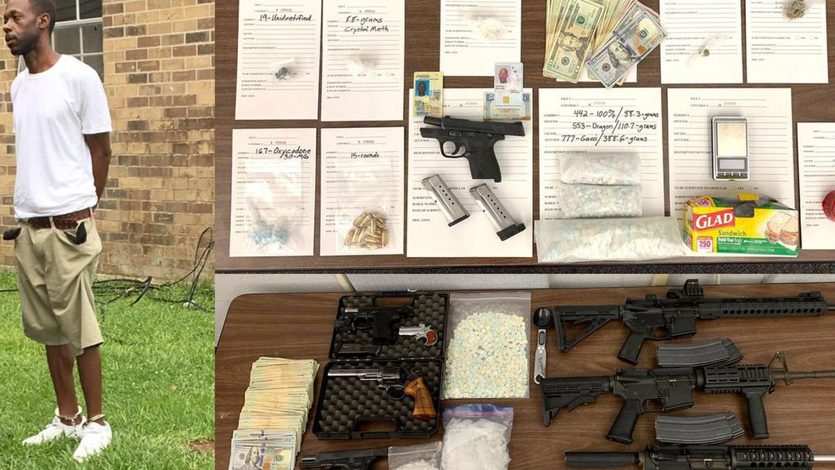 Wilford McKneely was arrested for possession of schedule I and II drugs, as well as stolen firearms. (Source: EBRSO)