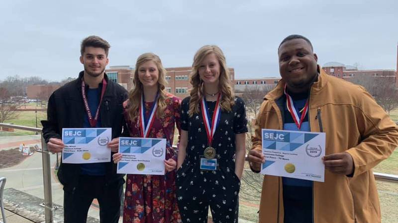 LC students Jacob Wilson, Haleigh and Macyee Lachney, and Jamarcus Fitzpatrick showing some of...