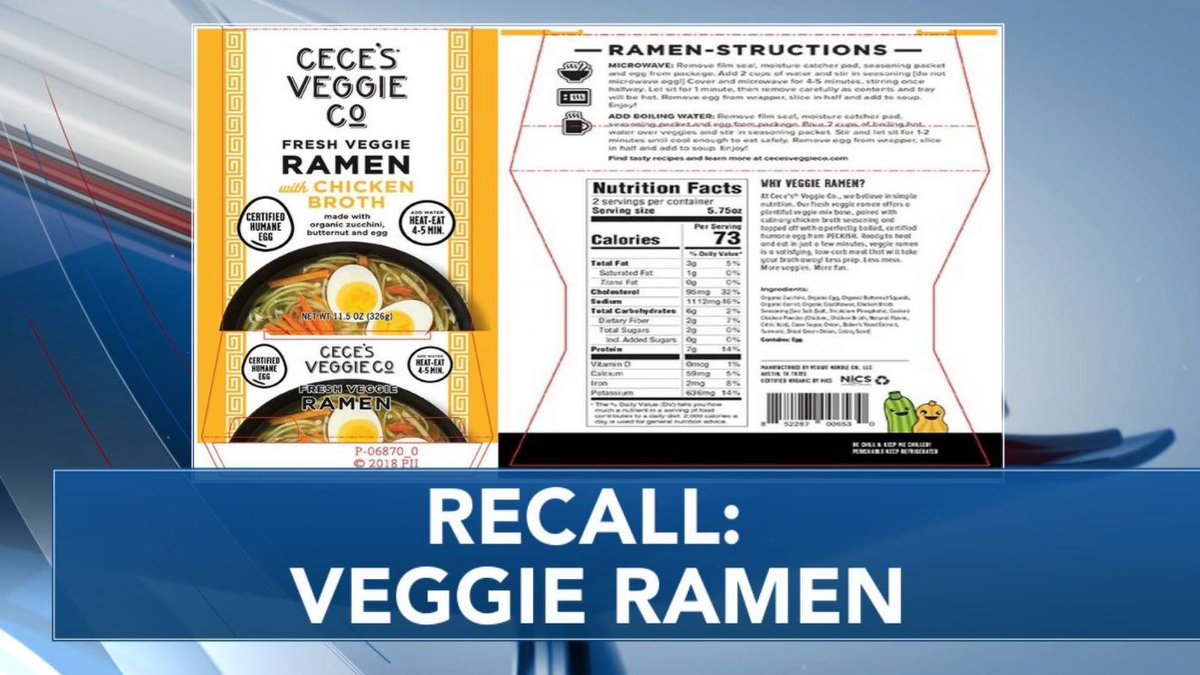 Veggie Noodle Co., LLC is voluntarily recalling its Cece's® Veggie Co. brand...