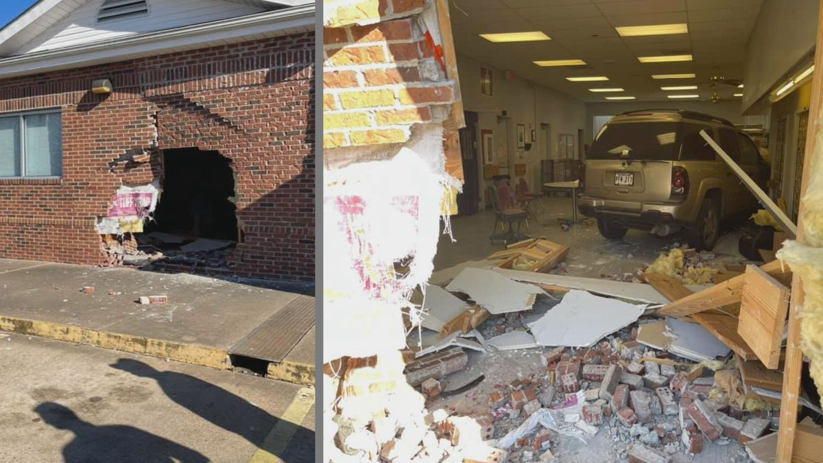 A vehicle crashed into the post office on Metro Drive in Alexandria on February 23.
