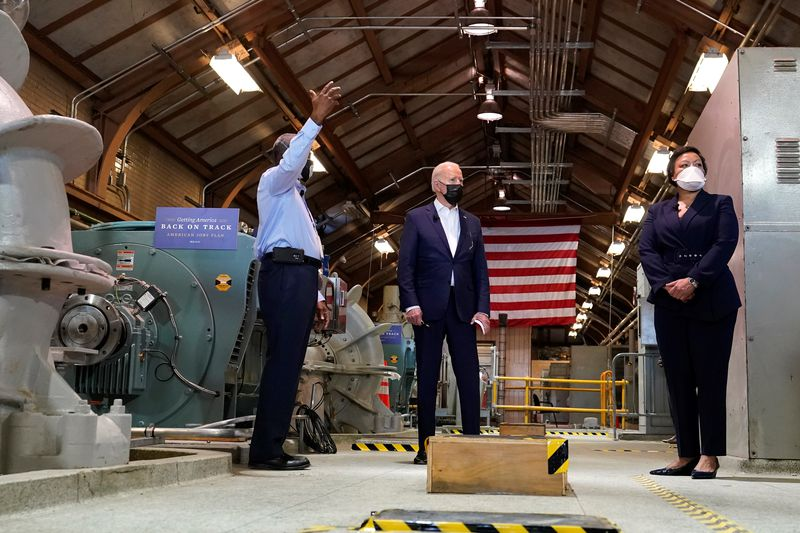 President Joe Biden tours a pumping room at the Sewerage & Water Board's Carrollton water...