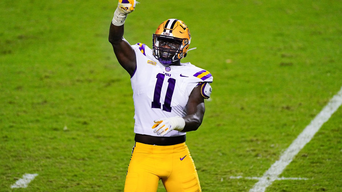 Ali Gaye during the first half of a game between LSU and South Carolina at Tiger Stadium in...