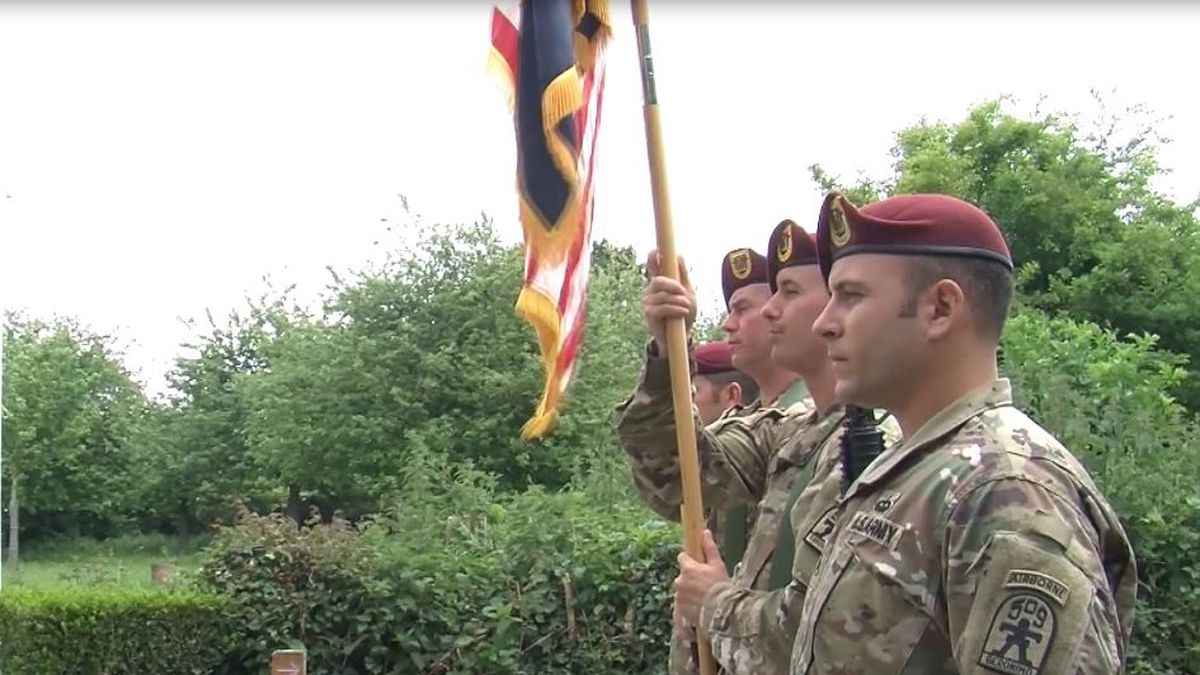 Soldiers in 1st Battalion, 509th Airborne Infantry Regiment hosted the Timmes Orchard ceremony in Amfreville, France as part of the 75th commemoration of D-Day.<br />(Courtesy U.S. Army Europe Public Affairs)